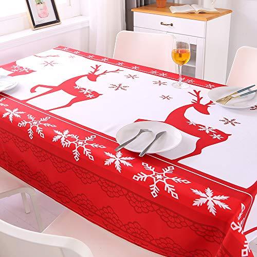 Topmail Mantel para Mesa Navideño Antimanchas Rectangular Protector Cubierta de Mesa para Navidad en Poliéster para Comedor Cocina Patrón Alce Blanco y Rojo, 140x220cm
