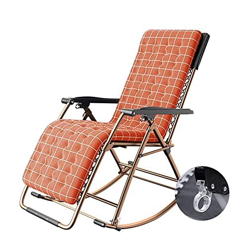 LIXIONG-sillón Mecedora, Cómodo Relajante Sillón reclinable con Suave Amortiguar, Plegable Salón Silla con Apoyabrazos por Interior Yarda Patio, 4 Colores (Color : B, Size : 110x86x50cm)