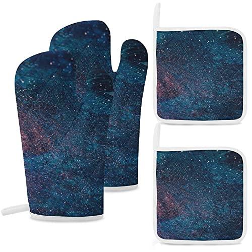 ERDG Guantes aislados, almohadillas de algodón antideslizantes y reutilizables para cocinar, hornear, asar y microondas, juego de cuatro piezas Starry Sky