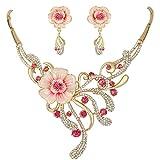 EVER FAITH Set Gioielli Donna, Austriaco Cristallo Elegante Primavera Ibisco Fiore Collana Orecchini Set Rosa Oro-Fondo
