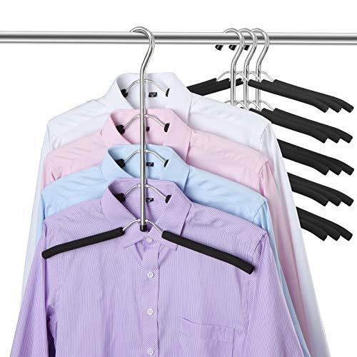 DOIOWN Blouse Tree Hangers Clothes Hangers Non Slip Space Saving Stainless Steel Shirt Hangers Coats Hangers Closet Organizer 4 Black