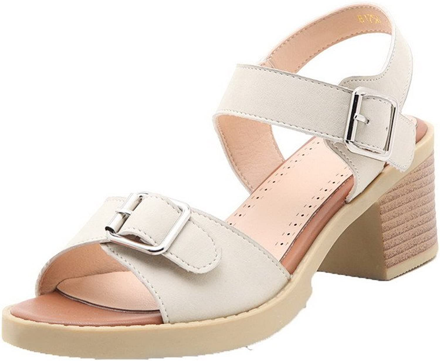 WeenFashion Women's Open-Toe Kitten-Heels Soft Material Solid Buckle Sandals