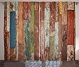ABAKUHAUS Rústico Cortinas, Estilo Diseño Tablones de Grunge, Sala de Estar Dormitorio Cortinas Ventana Set de Dos Paños, 280 x 225 cm, Multicolor