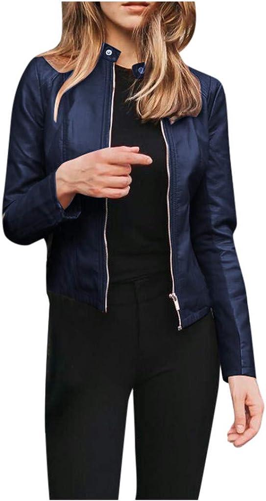 MOMFEI Women's Faux Leather Jackets, Zip Up Motorcycle Punk Short PU Moto Biker Outwear Fitted Slim Cropped Coat