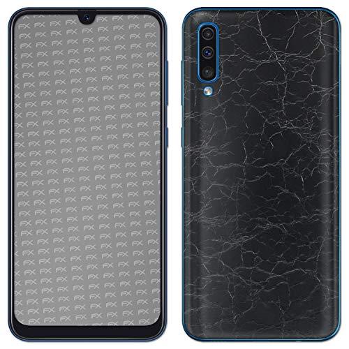 Preisvergleich Produktbild atFolix Skin kompatibel mit Samsung Galaxy A50 (2019),  Designfolie Sticker (FX-Rugged-Leather-Black),  Grobe Leder-Struktur