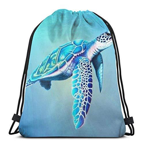 LREFON Borse da palestra con coulisse Zaino Sea Turtle Sackpack Tote per viaggio Portaoggetti Scarpa Organizer Scuola Spalla Bottiglia d'acqua Bambini