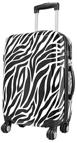 Koffer M Zebra Weiss Schwarz 57x37x22 Hartschale Reise Kabinen Trolley Bowatex