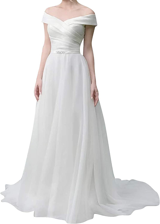 Alexzendra A line Wedding Dress 2019 Tulle Bridal Gown Off The Shoulder Bride Dresses