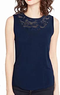 JINIU Women's Tops Lace Panel Solid Color Sleeveless T-Shirts Fashion Comfortable Tank Top