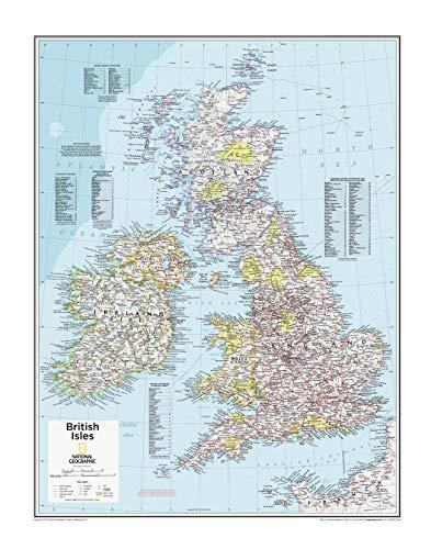 National Geographic: British Isles mapa de pared – 22 x 28 pulgadas – papel enrollado