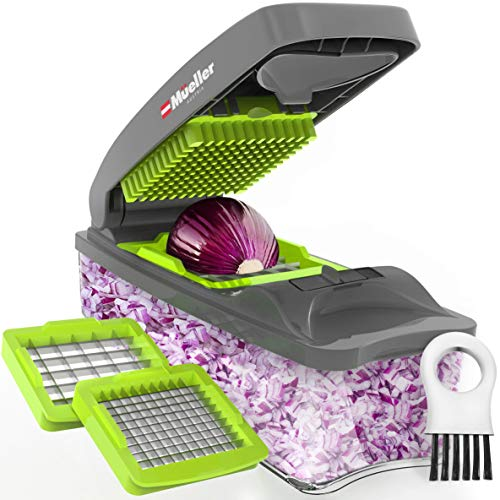 Mueller Vegetable Chopper – Heavy Duty Vegetable Slicer - Onion Chopper with Container - Pro Food Chopper - Grey Slicer Dicer Cutter
