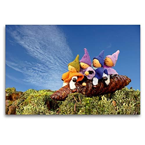 CALVENDO Premium Textil-Leinwand 120 x 80 cm Quer-Format Vier kleine Wichtel reiten auf einem Fichtenzapfen, Leinwanddruck von Christine Schmutzler-Schaub
