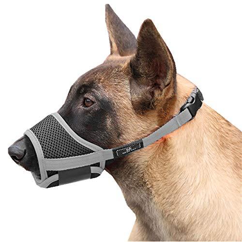 Cilkus Dog Muzzle Nylon Mesh Adjustable Breathable Soft Dog Muzzle, Anti-bite, Anti-Barking, Anti-Chaos, Pet Anti-Barking Muzzle, 4 Sizes for Large, Medium and Small Dogs (Medium-01, Grey)