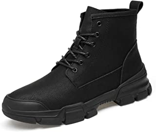 Mens Snow Ankle Boots, Fully PU Lined Anti-Slip Lace Up Comfy Fashion Flat Martin Casual Boots Waterproof Work Hiking Boots