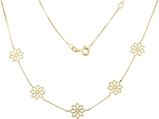 forme di Lucchetta per Donna - Orecchini o Collana con Fiori Margherite in Vero Oro Giallo