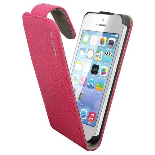 Suncia PREMIUM Leather1 Case / Cas en Cuir / Leather cover / Cas / Etui / Coque pour Apple iPhone 5/5S Classique Rose
