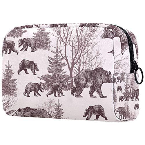 Trousse de toilette portable personnalisée pour femme, sac à main, cosmétique, voyage - L'ours dans les bois
