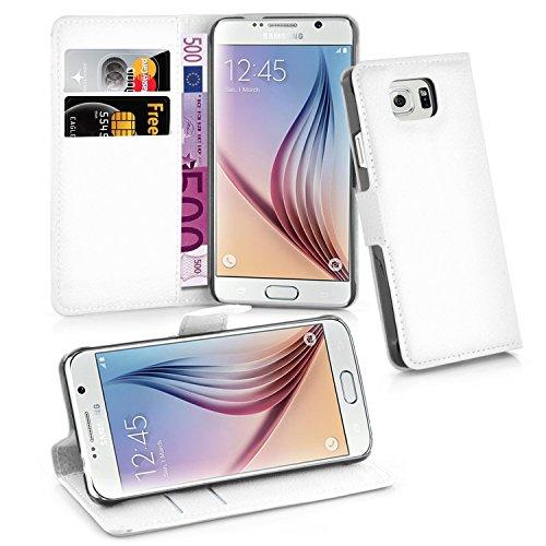Cadorabo Hülle für Samsung Galaxy S6 - Hülle in ARKTIS WEIß – Handyhülle mit Kartenfach und Standfunktion - Case Cover Schutzhülle Etui Tasche Book Klapp Style