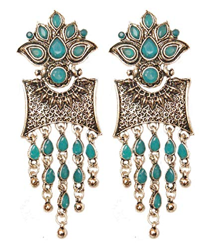 Pahal - Pendientes Jhumka de plata oxidada con capas, color azul turquesa y azul turquesa
