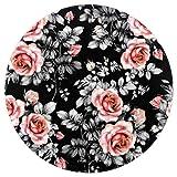 Zerbino rotondo antiscivolo, con fiori rossi e foglie di rosa acquerello, motivo floreale, adatto per camera da letto, soggiorno, cameretta dei bambini, diametro 4 piedi 4ft-120cm Multi