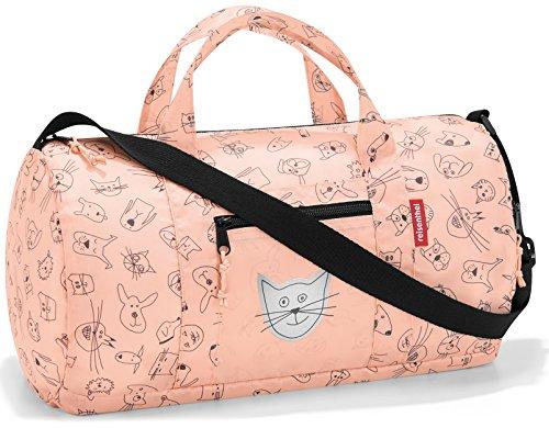 reisenthel Mini Maxi Sac de dufflebag S pour Enfant 38 x 21 x 21 cm 10 l, Chat et Chien Rose. (Rouge) - IH3064