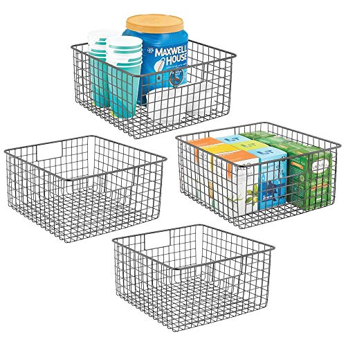 mDesign Farmhouse Decor Metal Wire Food Storage Organizer, Bin Basket with Handles for Kitchen Cabinets, Pantry, Bathroom, Laundry Room, Closets, Garage - 12 x 12 x 6 - 4 Pack - Graphite Gray
