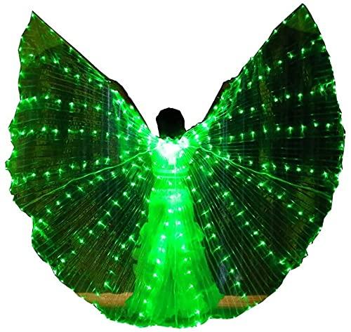 wsbdking DIRIGIÓ ISIS Wings ADULTURADOR ADULTIVO IRIDESCENTE Danza Danza Danza Buenca Danza DIRIGIÓ Alas de ISIS con Palos/Varillas (Color: luz Verde)