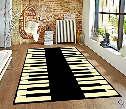 """Champion Rugs Music Theme Area Rug Music Note Piano Keyboard Area Rug Mat for Living Dining Dorm Room Bedroom Home Decorative (5' 3"""" X 7' 5"""")"""