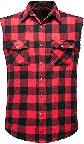 Mens Sleeveless Plaid Shirt Casual Flannel Button Down Shirts Loose Fit with Pocket (Red-A210, X-Large)