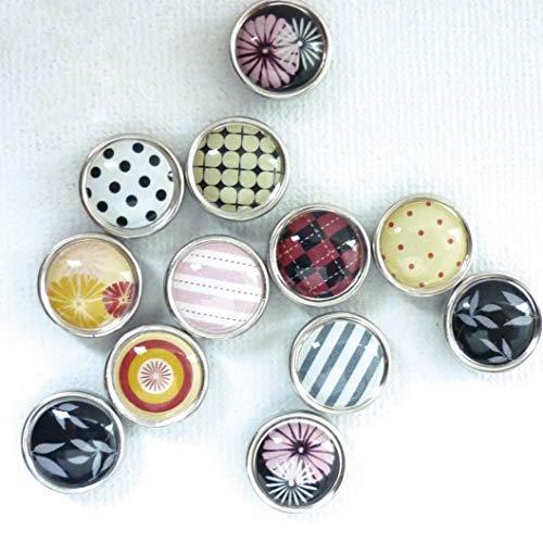 Graine Créative Mini-Magnete aus Epoxidharz, Ø12mm, Schwarz / verschiedene Motive, 12 Stück