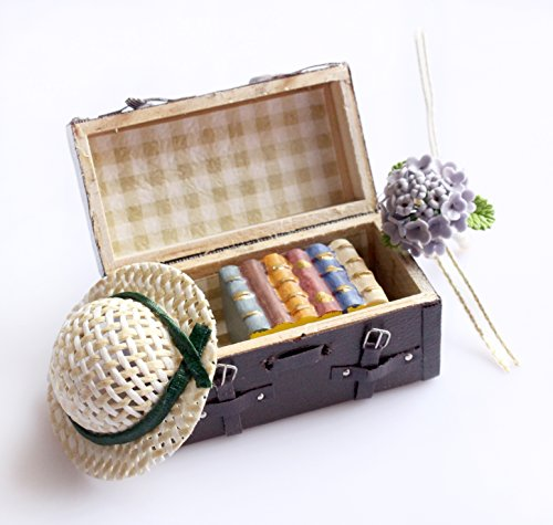 BulzEU 1:12 Dollhouse Miniature Carrying Vintage Leather Wooden Brown Suitcase Luggage for Doll House Furniture