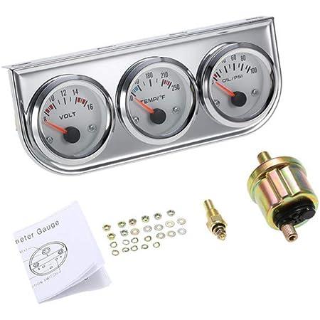 AW-C3 252MM Triple Gauge Kit Voltmeter Water Temp Gauge Oil Pressure Gauge with Sensor Car Meter YC100895 For Cars Trucks Tractors and Marine Engines