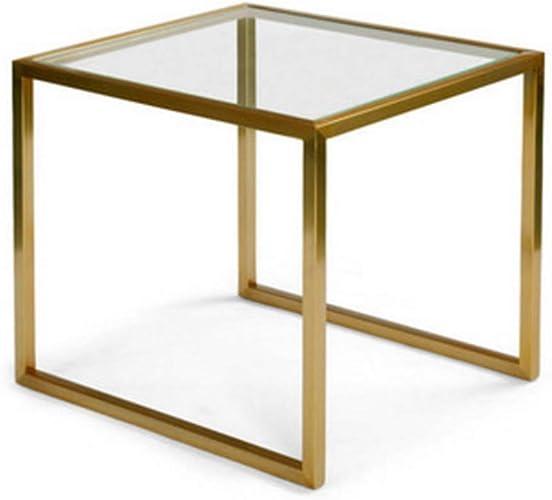 NAN Table d'appoint en Verre, Structure en métal, Robuste, carrée, Table Basse Plate de 45 cm de Hauteur, Or Naturel