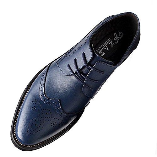 ANUFER Hombres Inteligente Punta Puntiaguda Zapatos de Vestir con Cordones Formal Negocios Boda Brogues Azul Marino P110 EU42