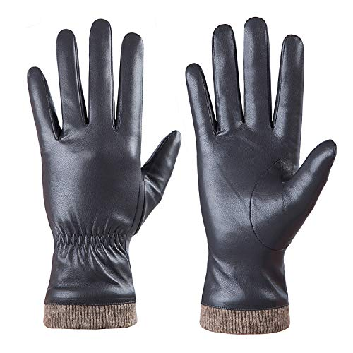 Winter Leather Gloves for Women, Wool Fleece Lined Warm Gloves, Touchscreen Texting Thick Thermal Snow Driving Gloves by REDESS