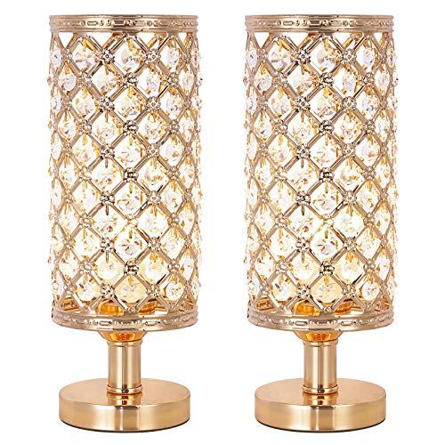 2er Set Nachttischlampe mit Kristall, Kleine Tischleuchte, Tischlampe für Schlafzimmer, Wohnzimmer, Mädchenzimmer, Tischdekoration, golden