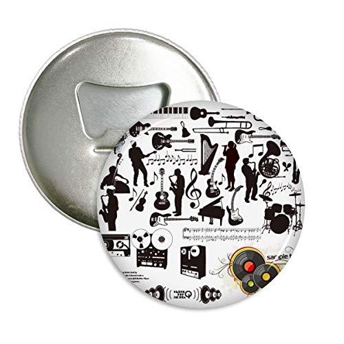 DIYthinker Rockmusik Festival Verrücktes Muster rund Flaschenöffner Kühlschrank Magnet Pins Abzeichen-Knopf-Geschenk 3pcs Silber