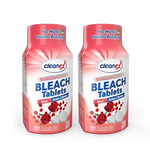Cleanex Bleach Tabletten, verbesserte Formel, ultra konzentriert, wasserlöslich, für Wäsche und Mehrzweck-Reinigung, 36 Tabletten, kein Phosphat, keine flüssigen Bleichmittel mehr (Rose 2 Packungen)