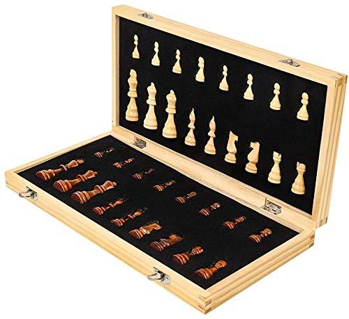 Conjunto de ajedrez Conjunto de ajedrez de Madera con Juego de Mesa de ajedrez Plegable Conjunto para almacenar Piezas 2 Reinas adicionales Regalo de Tablero de ajedrez de Juguete de Viaje Grande