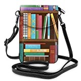 Women Small Cell Phone Purse Crossbody,Digital Drawing Graphic Of Home Library With Books About Different Subjects Image