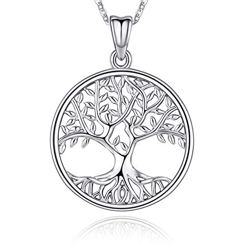 Tree of Life Necklace,Sterling Silver Necklace for Women,Tree of Life Pendant Charm 18' Chain,Family Tree Pendant Necklace Jewelry Birthday Gifts for Mother Grandma(with Fine Jewelry Box)