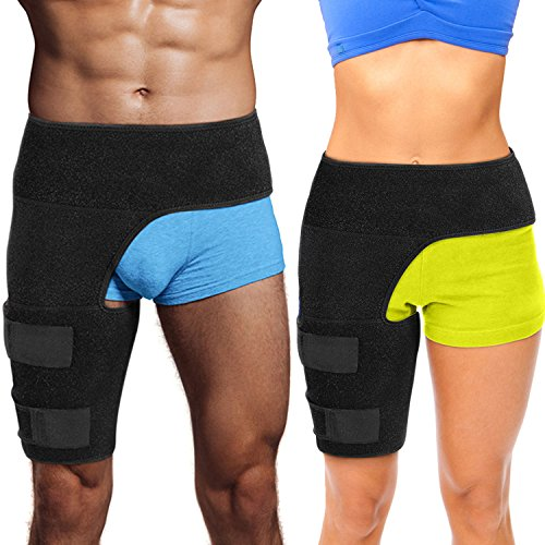 Hip Brace Thigh Compression Sleeve – Hamstring Compression Sleeve & Groin Compression Wrap for Hip Pain Relief. Support for Hip Replacements, Sciatica, Quad Muscle Strains Fits Both Legs (SM/Right