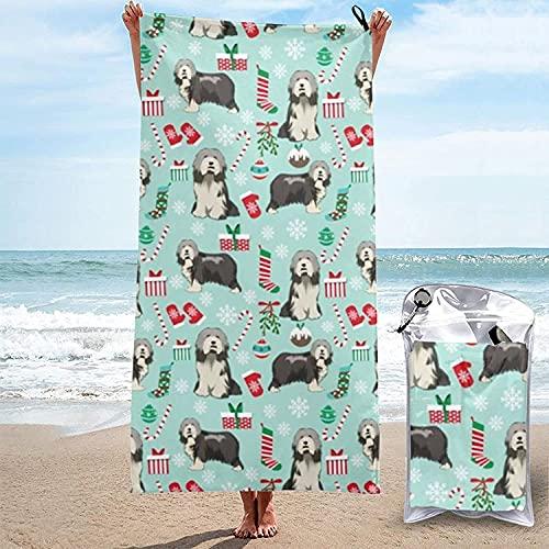 Toalla de Microfibra de Secado rápido, Collie Barbudo, Perro de Navidad, Toallas de baño Ultra Suaves para Nadar, Playa, baño, 31.5 'x63