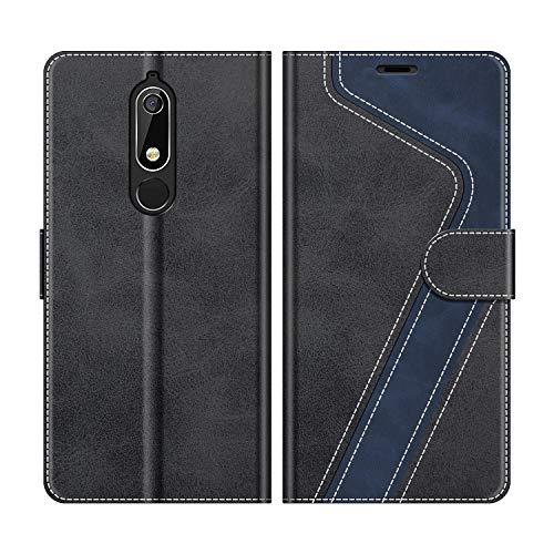 MOBESV Handyhülle für Nokia 5.1 Hülle Leder, Nokia 5.1 Klapphülle Handytasche Case für Nokia 5.1 Handy Hüllen, Modisch Schwarz
