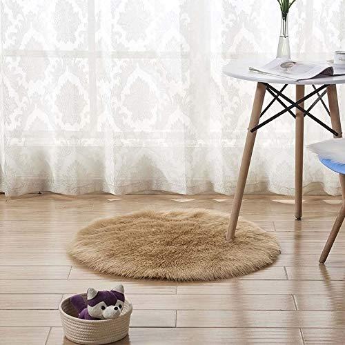 GSOLOYL Rund Weiches Faux-Schaffell Bereich Wolldecken for Schlafzimmer Wohnzimmer Fussboden Shaggy Silky Plüsch Teppich Weiß-Pelz-Teppich Bettvorleger (Color : Khaki, Size : 2400mm x 3300mm)