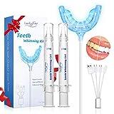 Luckyfine Kit de Blanqueamiento Dental Profesional, Blanqueador de Dientes-Fórmula Suave,Sin Peróxido de Hidrógeno,Apto para Dientes Sensibles-2x15ML Gel, 1x Luz LED, [Alta capacidad * 2]
