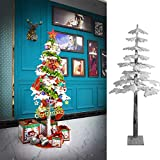 Artificial Tree, Lighted maple Tree with 140 LED Lights Warm White Lights or Flocked White Finish for winter Decor, Thanksgiving or Christmas Decoration Festival, Wedding Party Home Indoor Outdoor 6ft