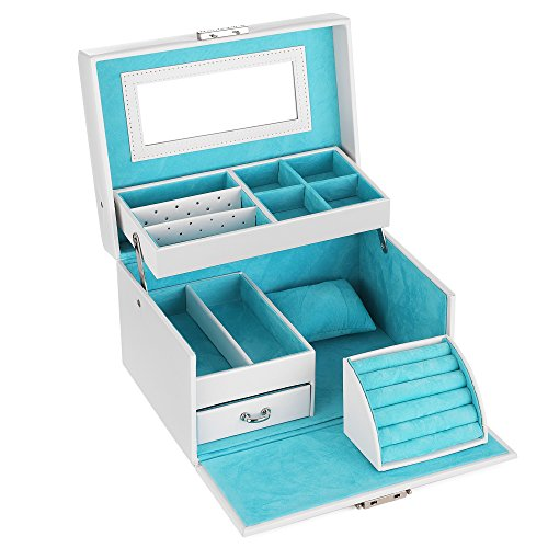 SONGMICS Jewelry Box, Girls Jewelry Organizer, Lockable Mirrored Storage Case, Gift Idea, White UJBC114W