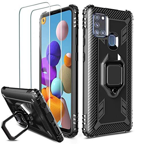 Milomdoi [Hülle mit 2 Stücks] Hülle für Samsung Galaxy A21S + 2 Stücks HD Panzerglas Schutzfolie, [Antikollisions ] 360 Grad Cover Magnetische TPU Silikon Schutzhülle-Schwarz