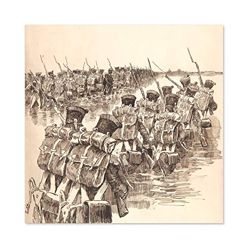 Pille Soldiers Marching In Water Drawing Large Wall Art Poster Print Thick Paper 24X24 Inch Soldat Wasser Zeichnung Wand Poster drucken